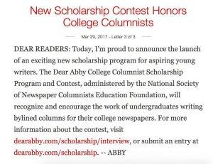 Screenshot of online Dear Abby column of 29 March 2017