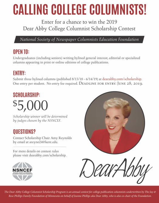 Flyer for 2019 College Columnist Contest