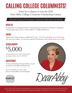 Flyer for 2018 College Columnist Contest